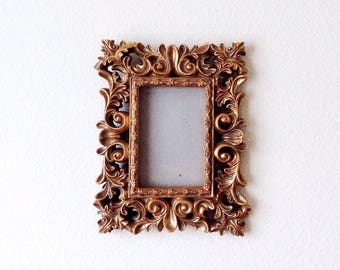 Ornate Gold Picture Frame 4x6, Ornate Syroco Style Picture Frame, Gold Painted Bohemian Picture Frame, Intricate Gold Flower Picture Frame