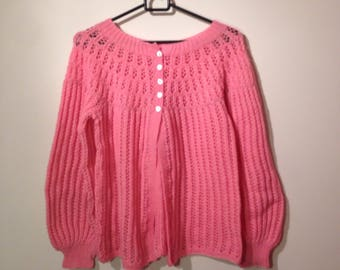 Rose pink 1940s hand-knitted Cardigan size (S)