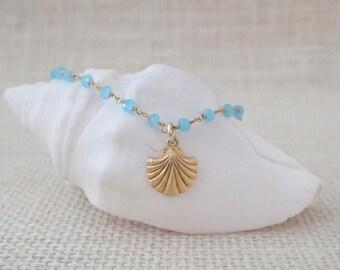 Aqua Blue Chalcedony Bracelet With Gold Vermeil Sea Shell Charm Minimalist Bracelet Charm Bracelet Delicate Bracelet Nautical Bracelet