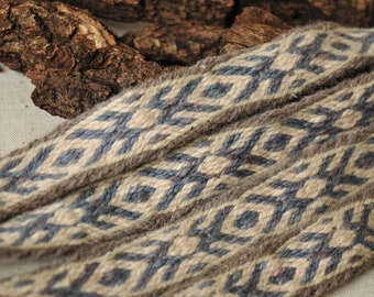"""Viking belt / Tablet woven belt / Woven strap /Tablet woven belt / Naturally dyed wool / Viking clothing / Medieval clothing / 167cm, 65"""""""