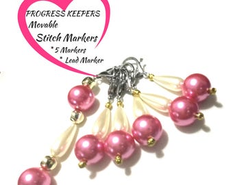Large Pink Pearl Stitch Marker Set, Knitters Gift, Progress Keepers, Knitters Stitch Markers ,Versatile Bag Charms,Unique Style gift