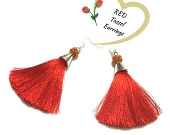 Red Tassel Earrings, On Trend Earrings, Stunning Earrings, Red Tassels, Party Earrings, On Trend Stylish Gift,  Earrings Silver