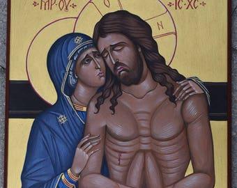 Custom Eastern Orthodox Icon Painting. The Pieta.
