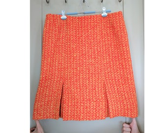 1950s Plus Size Tweed Skirt, Vintage Orange Yellow Pleated Wool Skirt, Velma Halloween Skirt Costume, Vintage Plus Size  XL XXL Clothing