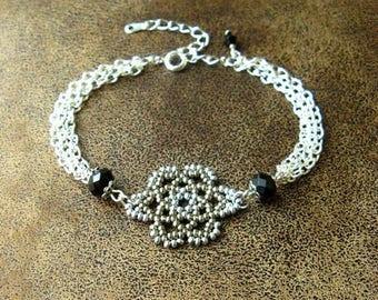 MULTISTRAND bracelet ~ Bohemian Bracelet ~ * unique * ~ woven beads ~ Bohemian jewelry ~ flower bead ~ flower woven ~