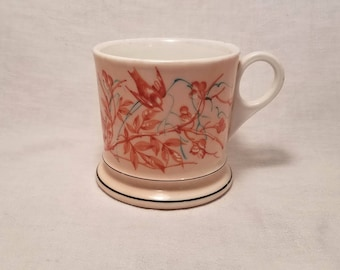 SHAVING MUG UNMARKED White Peach Pastel Bird on Branch Ceramic Glass Barber Cup Straight Razor Collect Vintage Antique