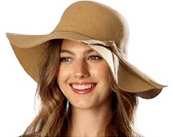 100% Wool Brown Floppy Winter Hat