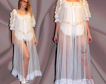 Vintage White Floor Length Peignoir, White Sheer Robe, Long Sheer Peignoir, Bridal White Sheer Lingerie, Lace Sheer Robe, 60s Sheer Peignoir