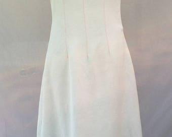 Off white linen long summer dress - off white long dress - neon orange thread stitches - Handmade - Made in France