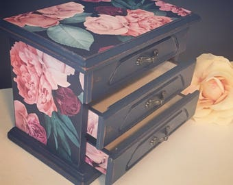 Navy blue floral jewelry box  -Vintage upcycled