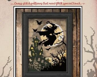Hallows' Eve Haunting  PDF Cross Stitch Pattern: Exclusive Autumn Lane Stitchery (digital download)