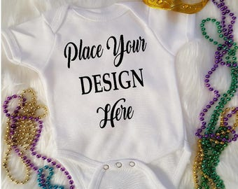 White Onsie~ Mardi Gras Mock-up