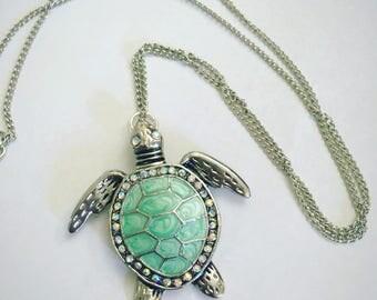 Sea Turtle Necklace - Blue Sea Turtle Necklace - Turtle Necklace - Long Necklace - Turquoise Sea Turtle Long Necklace