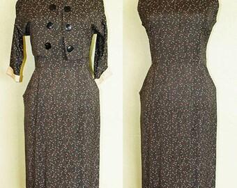 1950s Dress- Atomic Print- Gray Red Yellow- Bolero