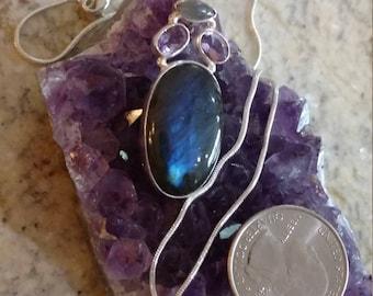 Labradorite and Amethyst Pendant Necklace