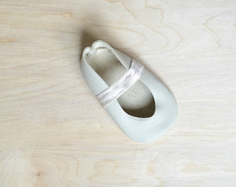 Ava:  Off White Leather Baby Girl Ballet Flats Mary Janes with Elastic