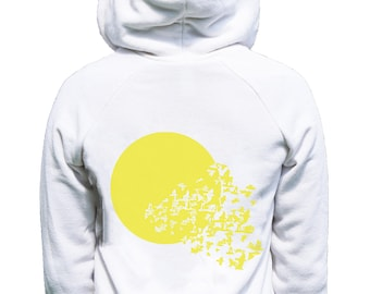 Women's Sunburst, Zip, ECO-FLEECE Hoodie in White, xs s md lg xl