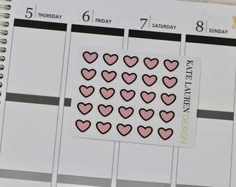 Pink Heart Planner Stickers, Pink Heart Stickers, Little Hearts, Love Planner Stickers, Date Night Stickers, Date Night Planner Stickers