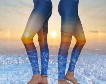 Printed Yoga Leggings • Unique • Recycled • Eco-Friendly Yoga Leggins • Yoga Pants • Blue leggings • Active Wear • Conscious • Yoga Wear •