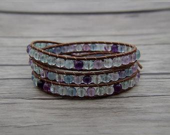 Boho wrap bracelet Fluorite beads bracelet 3 wraps bracelet leather bracelet Yoga bracelet Fluorite bracelet Friendship gift jewelrySL-0574