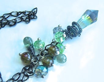 Cluster necklace, Crystal green AB opalisant, faceted glass Teardrop beads
