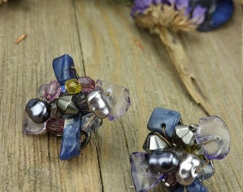 Vintage Beaded Cluster Earrings