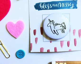 UNICORN BUTTON- watercolor, handlettered, pinback, pinback button, button flair, button badge, gifts for her, unicorn button, unicorn pin