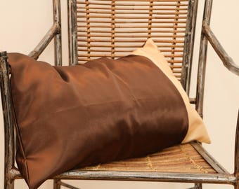 Brown rectangular cushion with beige, African stripe taffeta