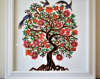 Tree of life Glass painting Bohemian decor Wall decor Original painting Textured painting