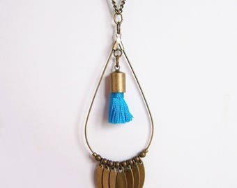 Drop necklace in brass and turquoise tassel