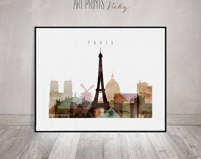 Paris wall art, Paris watercolour poster, Paris skyline print, travel poster, city print, typography poster, home decor, ArtPrintsVicky