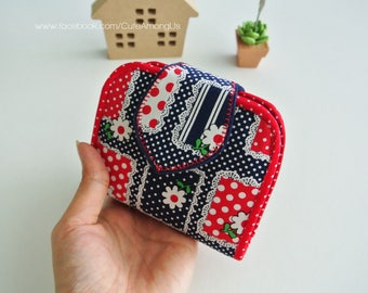 Navy Flowerbed Mini Purse, Change Purse, Coin Wallet, Bi-fold Wallet, Canvas Coin Purse, Small Wallet, Magnetic Closure - Made to Order