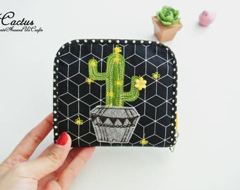 Cactus Lovers(B) Mini Wallet, Small Bi-fold Organizer Wallet, Zipper Coin Wallet, Fabric Coin Purse, Small Wallet, Gift for Her