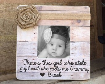 ON SALE Grandmother Frame Grammy Nana   Personalized Picture Frame There's this girl who stole my heart she calls me Grammy