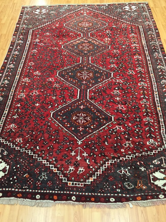 "6' x 8'10"" Antique Persian Shiraz Oriental Rug - 1940s - Hand Made - 100% Wool"
