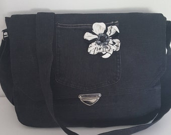 Jeans bag black with flowers