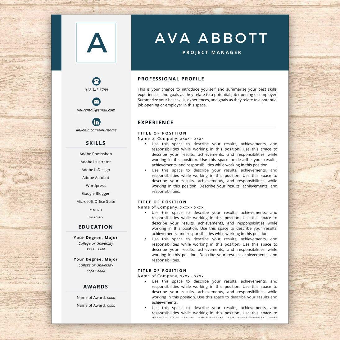 resume template monogram resume resume template instant