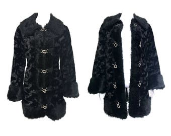 Vintage 1970s Shag Coat Black Faux Fur With Silver Buckles Long Line Jacket Retro