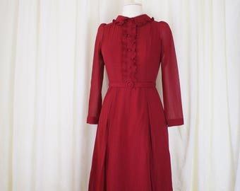 70s Cherry red Long sleeve Secretary dress, Day dress, Dinner party, 1970s vintage shirt dress, XS 3973