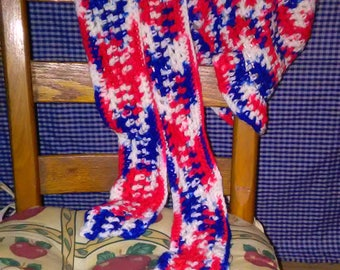 Crocheted Red White and Blue Hat and Scarf Set