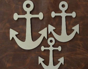 Anchors, Wooden Anchor Cut Out, Anchor Shape, Wooden Anchor, Wall Decor, Wall Hanging, Beach Decor, Beach House, Set of 3