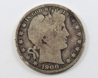 U.S. 1900 Barber Silver Half Dollar Coin.