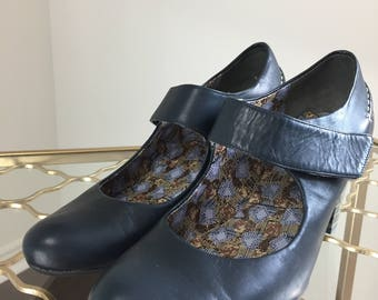 """1990s Mary Jane Shoes - Leather - Camper - Navy Blue - Velcro Strap - Striped Block 2.75"""" Heel - Size 36 EU Size 6 US Pristine Condition"""