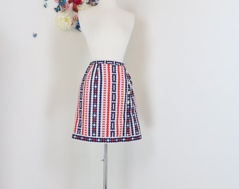 "1960s 70s Mini Skirt - Skort - Red White Blue - Groovy Graphic Bold Floral - Short A-line Summer Spring - Size Extra Small  25"" Waist"