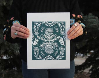 Hand Made Block Print. Hand Stamped Folk Art. Hand Printed.