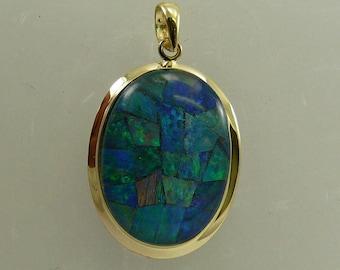 Mosaic Opal 13.1 mm x 18.4 mm Pendant 14k Yellow Gold