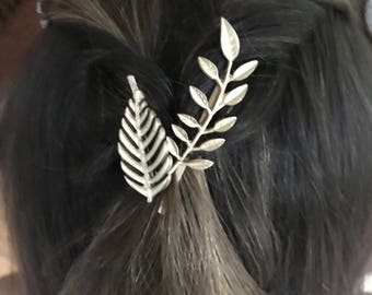 Two leaf bobby pins hair accessory