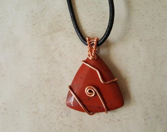 Mens Red Jasper Necklace - Copper Wrapped Red Jasper Pendant - Protection Necklace - Unisex Gemstone Necklace - Mens Rustic Necklace