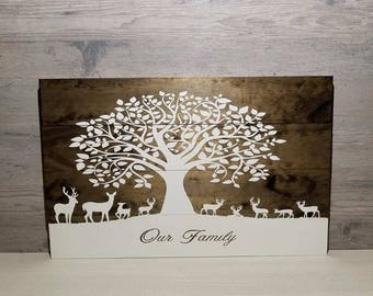 Family Wooden Sign - Country Family Sign - Deer Sign - Family Deer Sign  - Gift For Them - Family Tree Wooden Sign - Gift For Family