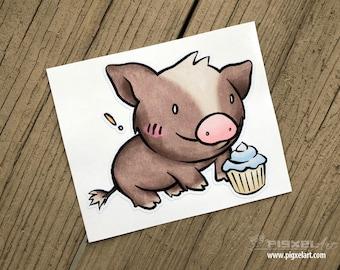 "Vinyl Decal Cute Little Pig ""Cupcake"" Piggy Die Cut Art Indoor/Outdoor Chotto Sukoshi Buta Mini Pig Pigxel Art"